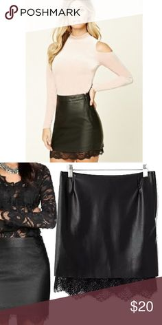 Forever 21 Faux Leather & Lace Skirt New ✖️Fast shipping✖️ Forever 21 Skirts Mini