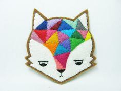 Annoyed urban fox felt pin