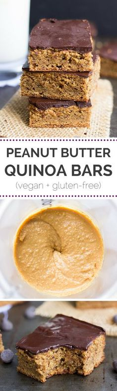 These peanut butter quinoa bars are AMAZING and so easy to make - plus they taste like peanut butter cups!    simplyquinoa.com    vegan + gluten-free