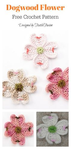 Crochet Flowers Ideas Dogwood Flower Free Crochet Pattern - This Dogwood Flowers Free Crochet Pattern can be customized to make a variety of flowers for home decor, headbands, or even accents for other crocheted pieces. Crochet Puff Flower, Crochet Flower Tutorial, Crochet Leaves, Easter Crochet, Crochet Flower Patterns, Crochet Motif, Crochet Flowers, Free Crochet, Knitting Patterns