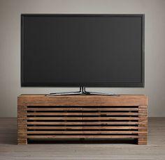 Reclaimed Timber Slat Media Stand