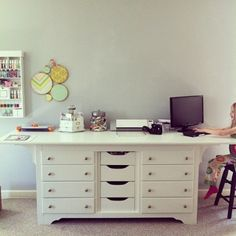 Dresser turned craft desk. Before and after pictures. I love how she extended the length and width of the dresser by adding a large piece of wood to the top.