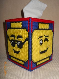 Lego Tissue box cover in Plastic canvas by SpyderCrafts on Etsy, $10.00