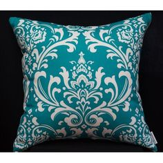 $30.00 Turquoise Teal cushion in damask print by Cooshonz on Handmade Australia