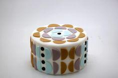 geometric patterned fondant cake