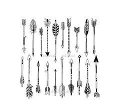 TEMPORARY TATTOO - Set of 20 Arrows Vector Art / Knuckle Tattoos