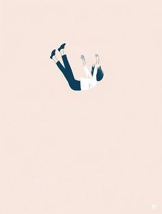Falling feeling Art Prints by ohgigue Kawaii Wallpaper, Girl Wallpaper, Cartoon Wallpaper, Sad Art, Story Instagram, Digital Art Girl, Aesthetic Iphone Wallpaper, Anime Art Girl, Aesthetic Art