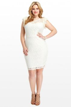 Plus Size Paige Flutter Sleeve Lace Dress | Fashion To Figure