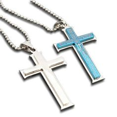 (Holiday Sale Free Shipping) Valentines-day Stainless Steel Beautiful a Pair of Scripture Cross Pendants Necklace with Chains Necklace