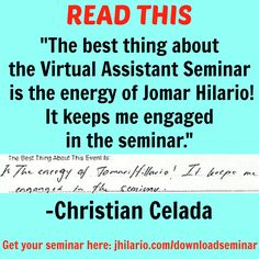 Here's Christian Celada, a VA seminar attendee, telling his best experience from the seminar.