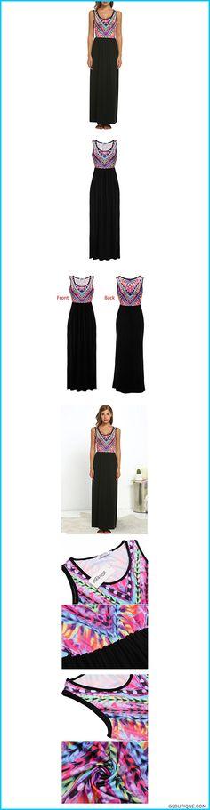 4fac9a7e8d342 Beyove Women s Floral Print Sleeveless Long Maxi Casual Dress