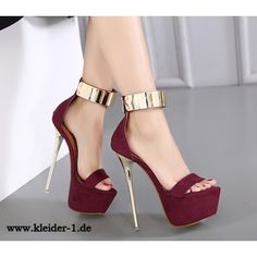 Stiletto Damen Sandalen High Heels Dunkelrot