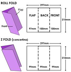 DL leaflets, z fold and roll fold