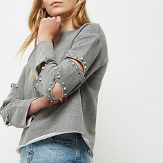 Grey pearl embellished slashed sweatshirt