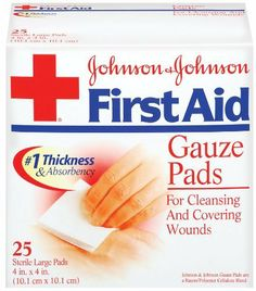 Johnson & Johnson First Aid Gauze Pads (4 x 4-inch), 25-Count Large Pads (Pack of 2) by J&J Red Cross. $13.14. Johnson and Johnson First Aid Sterile Gauze Pads are ideal for helping heal larger cuts, scrapes, and minor burns. Highly absorbent, these pads comfortably clean dirt and germs from the injured area and pull fluids away from the wound site. Made with a ra. Save 26% Off!