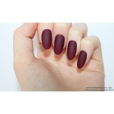 Matte burgundy oval nails, Nail designs, Nail art, Nails, Stiletto... ($16) ❤ liked on Polyvore featuring beauty products, nail care and nail treatments