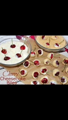 1 block cream cheese softened 1 cup powdered sugar Fresh cherries or strawberries Graham crackers Blend cream cheese and powdered sugar Grind your graham crackers Dip your berries in the cream cheese then the crackers And your done! Party Finger Foods, Finger Food Appetizers, Party Snacks, Party Party, Party Ideas, Just Desserts, Delicious Desserts, Dessert Recipes, Yummy Food