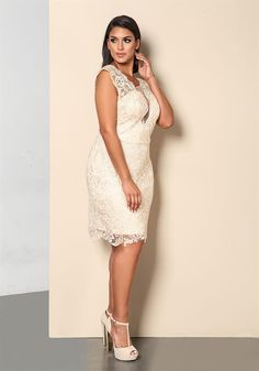 Plus Size Clothing | Plus Size Embroidered Lace Rhinestone Dress | Debshops