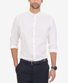 Nautica Men's Linen Banded-Collar Long-Sleeve Shirt - Casual Button-Down Shirts - Men - Macy's