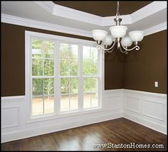 Formal dining room ideas - wainscoting, trey ceiling.