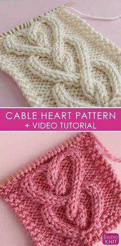How to Knit a Cable Heart Free Knitting Pattern + Video Tutorial by Studio Knit Knitting Stiches, Knitting Patterns Free, Knit Patterns, Free Knitting, Crochet Stitches, Stitch Patterns, Knitting Tutorials, Afghan Patterns, Knitted Heart Pattern