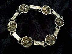 Vintage sterling silver flower bracelet, vintage silver floral bracelet, hallmarked 1940s, vintage jewelry, silver jewelry, 7.25 inches long by vintagesilverlynx on Etsy