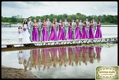 Bridal Party on a pier- great reflections & color! | Wedding Portraits