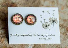 Moon and Stars Studs Earrings Jewelry Woman posts studs Handmade Jewelry, Unique Jewelry, Handmade Gifts, Tiny Stud Earrings, Mother Gifts, Gifts For Women, Studs, Women Jewelry, Place Card Holders