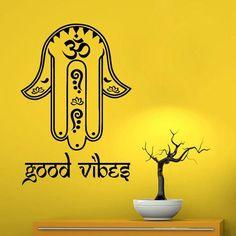 f6e71b88f Fatima Hand Wall Decals Hamsa Indian Amulet Om Oum Sign Floral Design Good  Vibes Yoga Gym Home Vinyl Decal Sticker Interior Room Decor by  DecalMyHappyShop ...