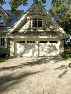 Garage And Shed Driveway Design, Pictures, Remodel, Decor and Ideas Shed Design, Garage Design, Exterior Design, House Design, Exterior Colors, Brick Driveway, Driveway Design, Brick Pavers, Belgard Pavers