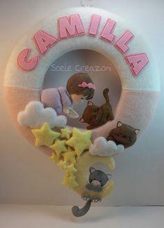 Baby Crafts, Felt Crafts, Diy And Crafts, Felt Fabric, Fabric Dolls, Felt Name Banner, Felt Angel, Diy Y Manualidades, Felt Pictures
