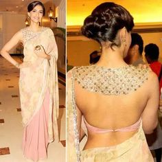 30 Latest Blouse Back Neck Designs In 2019 Blouse Back Neck Designs, Saree Blouse Designs, Saree Jackets, Sari Blouse, Sonam Kapoor, Sarees, Wedding Planner, Neckline, Satin