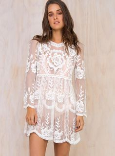 Delilah Long Sleeve Lace Mini Dress by: Princess Polly (Global) @Princess Polly (Global) Lace mini dress Long sleeves Shift style Sheer material Floral crochet detail Scalloped hem wrists Available in Black White