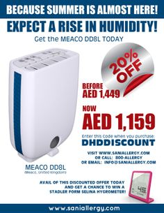 20% off the Meaco DD8L dehumidifier @ www.saniallergy.com Use coupon code: DHDDISCOUNT and get a chance to win a Stadler form SELINA Hygrometer!