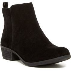 Vince Camuto Brystal Bootie ($80) ❤ liked on Polyvore featuring shoes, boots, ankle booties, ankle boots, faux-fur boots, faux suede booties, mid heel booties, suede booties and vince camuto boots