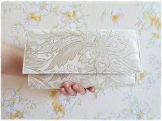 Sale Ivory gold clutch purse evening purse by KawaiiSakuraHandmade