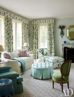 Traditional Bedroom by Mario Buatta and Charles Muse in Southampton, New York