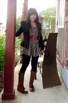 Frye boots - vintage belt - HUE leggings - Charlotte Russe dress - XOXO blazer -