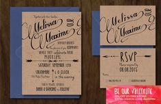 Rustic Arrow Kraft Wedding Invitation Set by FrozinMoments on Etsy