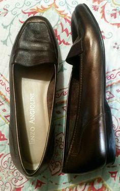 Enzo Angiolini Liberty 8M Metallic 2 Tone Dark Brown &Bronze Leather Loafer