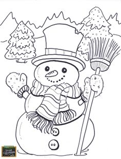Snowmen on the farm! Free teaching tool -  printable Agricultural coloring page for kids. http://farmtimeclassroom.com/
