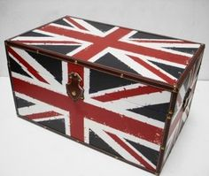 Union Jack England Strong Wooden Storage Unit Chest Box Trunk Teenage Bedroom