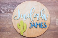 Decorate your nursery with this stylish, modern wooden name sign! Everything is hand crafted with a whole lot of love!  Each piece will be cut, sanded, painted and stained by hand. The stain may vary due to the grains and knots from the wood. That is what makes your sign so unique! Personalized Wooden Signs, Wooden Name Signs, Wooden Names, Wood Signs, Cactus Names, Names For Boyfriend, Wood Letters, Handmade Wooden, Bamboo Cutting Board