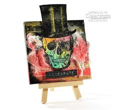 Meihsia shares an easy mini canvas project for Halloween home decoration featuring Izink inks, ColorBox® Full Size Pigment Ink by Teresa Collinsand other awesome products from Clearsnap!