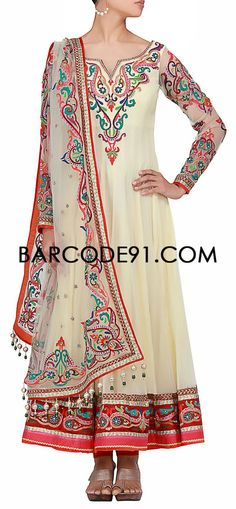 Buy it now  http://www.barcode91.com/a-cream-net-salwar-kameer-with-resham-embroidery-by-kalki.html  A cream net salwar kameer with resham embroidery by Kalki
