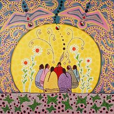 Traditional wisdom, gathering, womens circle, belonging, connection to nature. Talking Circle Painting by Leah Dorion Mandala Lunar, Circle Art, Writing Circle, Sacred Feminine, Native American Artists, Indigenous Art, Native Art, Wicca, Nativity