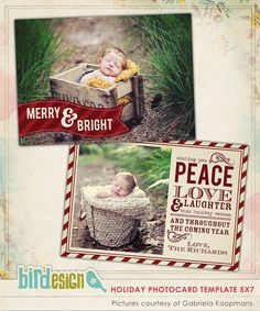 PSD Christmas Card Photoshop template  Classic Wishes by birdesign, $8.00