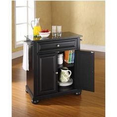 Crosley Furniture Alexandria Solid Black Granite Top Portable Kitchen Cart or Island in Black, Classic Cherry, Mahogany or White finish | KitchenSource.com