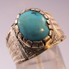 Vintage Turquoise Sterling Silver Ring by BrightEyesTreasures, $30.00