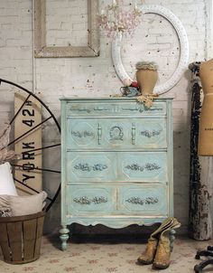 Painted Cottage Chic Shabby Aqua French by paintedcottages on Etsy, $325.00